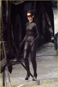 Backstage picture of Anne Hathaway as Catwoman in The Dark Knight Rises