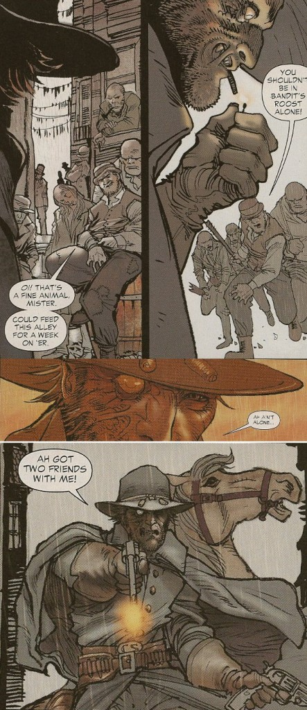 Gunfight from DC Comics All-Star Western #1, Written by Jimmy Palmiotti and Justin Gray, art by Moritat
