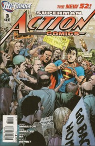 Cover to Action Comics #3, written by Grant Morrison and drawn by Rags Morales